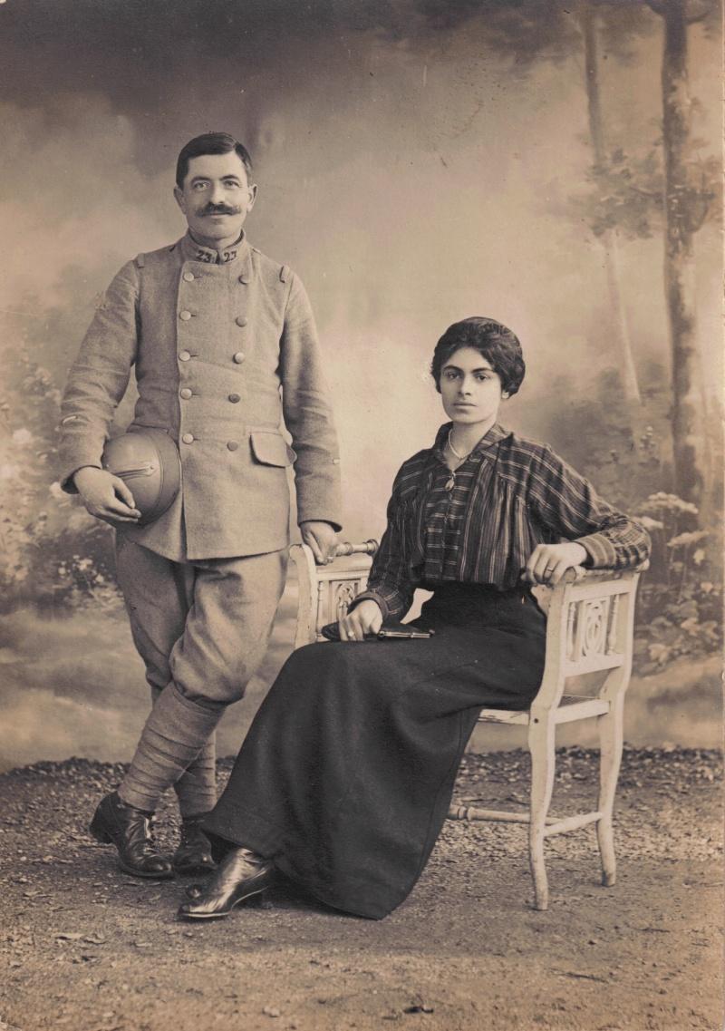 Postcard Portrait of Seated Couple, Paris. Estimated Date: 1914/15